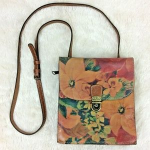 Patricia Nash Floral Cross Body Purse Brown